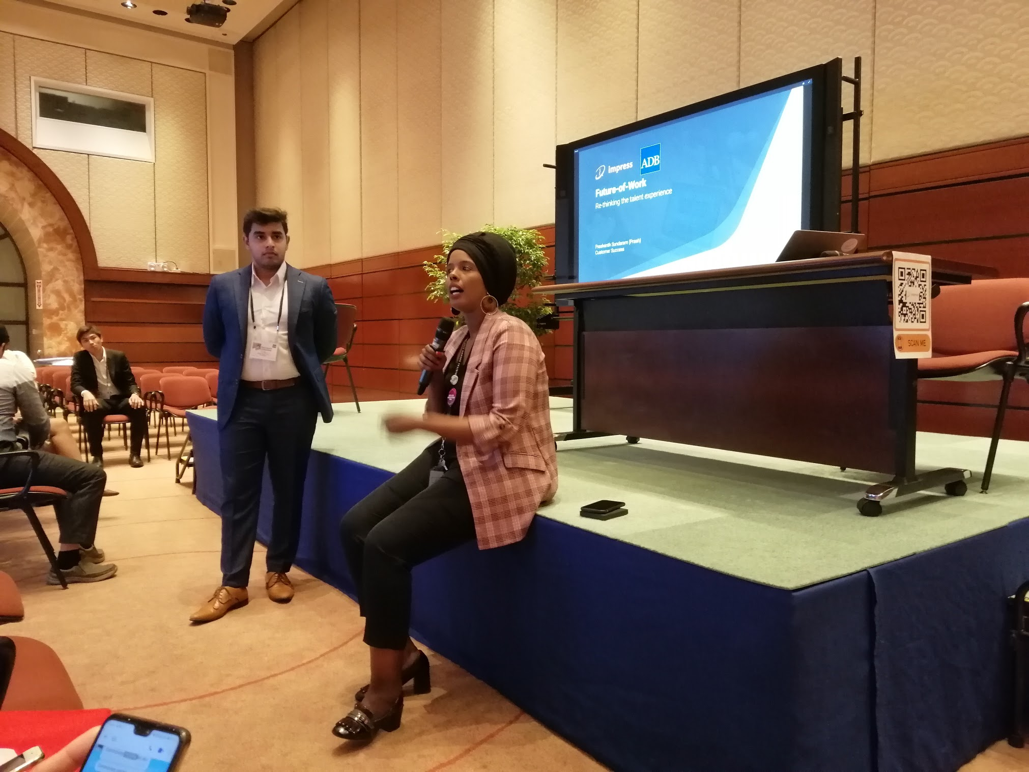 1:41 p.m. - Happening now: the mini discussions resume! Senior IT Specialist Kadra Saeed gives a short introduction on Impress.ai.