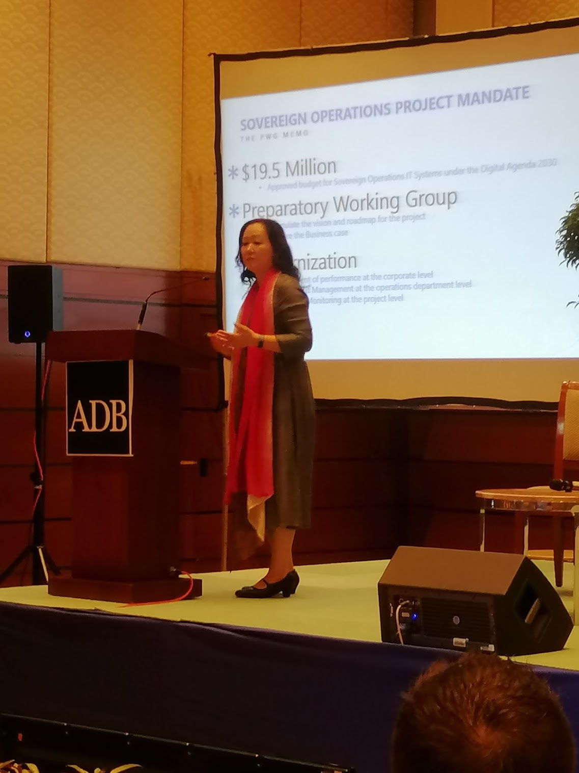 1:38 p.m. - F. Cleo Kawawaki, Deputy Director General for SERD, opens the floor by showing the current data of Sovereign Operations in regards to the current tools of ADB