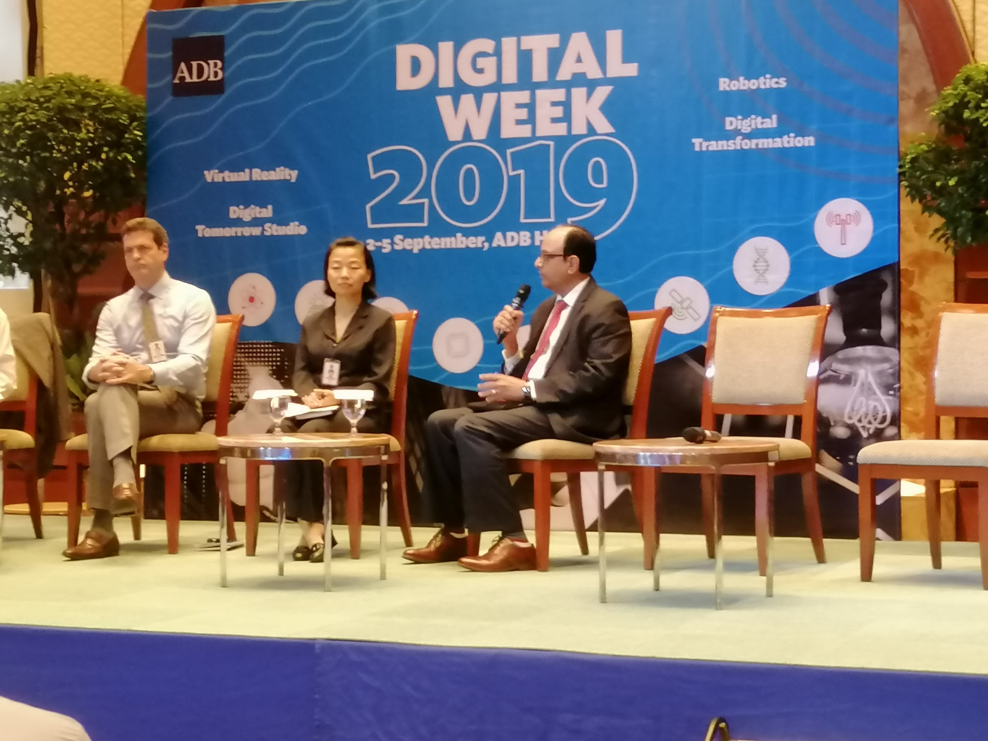 2:45 p.m. - Facilitated by Special Senior Advisor to the President Ayumi Konishi, the Discussion with Directors from Regional Departments start.The directors are:Andrew Jeffries, SEENJimgmin Huang, PAUWRavi Venkat Peri, SATC