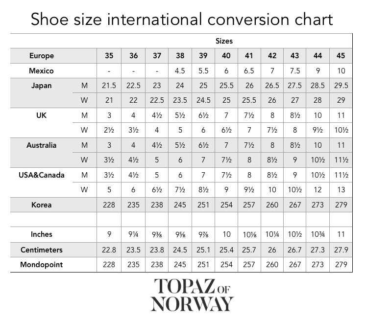 Topaz of Norway - This chart helps you find your size when buying shoes from Topaz of Norway