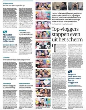 Top-vloggers stappen even uit het scherm - De YouTube-wereld wordt professioneler en kent sinds 2015 zijn eigen festival: Veed. Vanavond worden in Amsterdam de Veed Awards uitgereikt. Drie YouTubers vertellen.