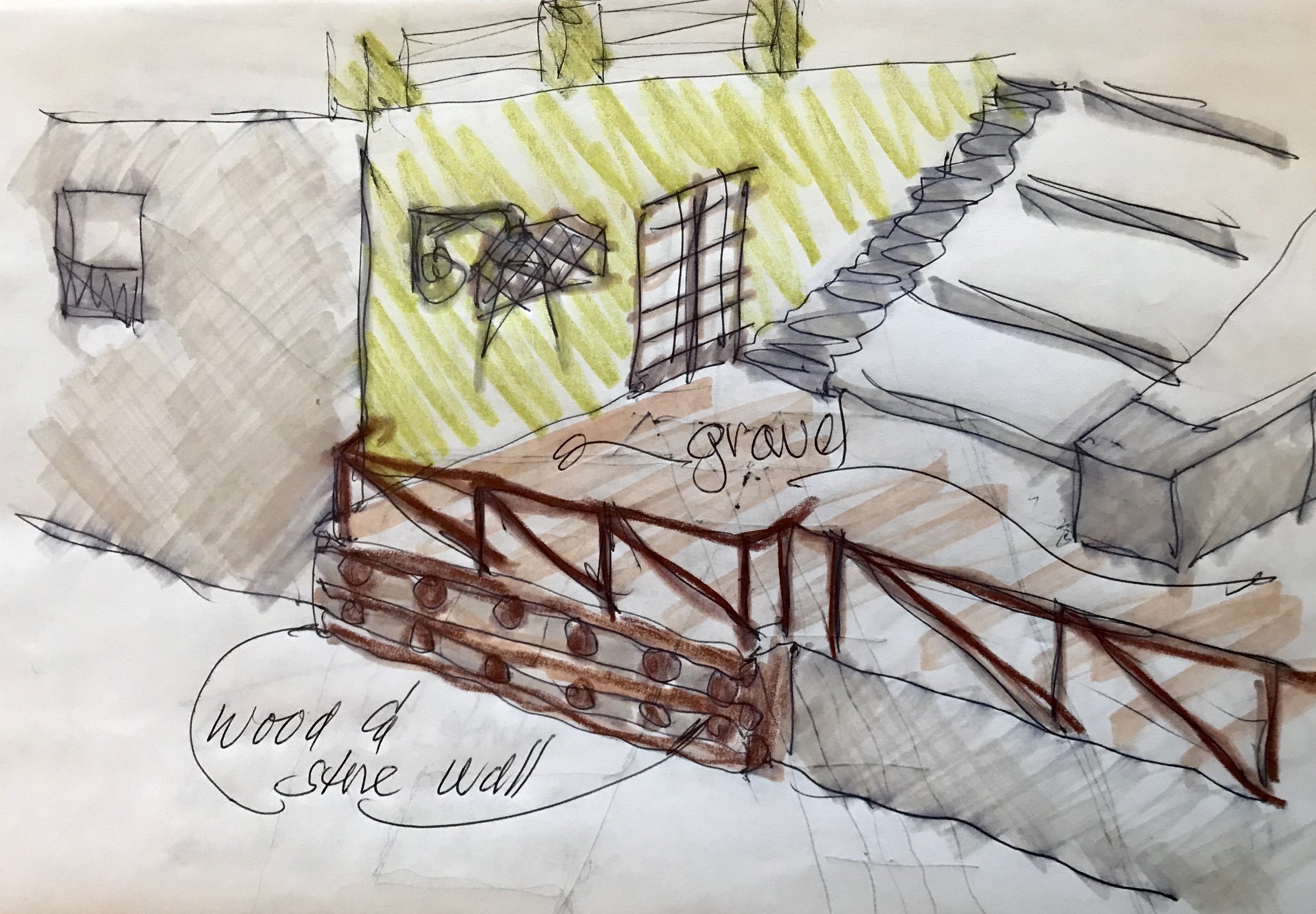 Quick drawing of how the Commercial Kitchen's terrace with wood & stone retaining wall of the Fortress…