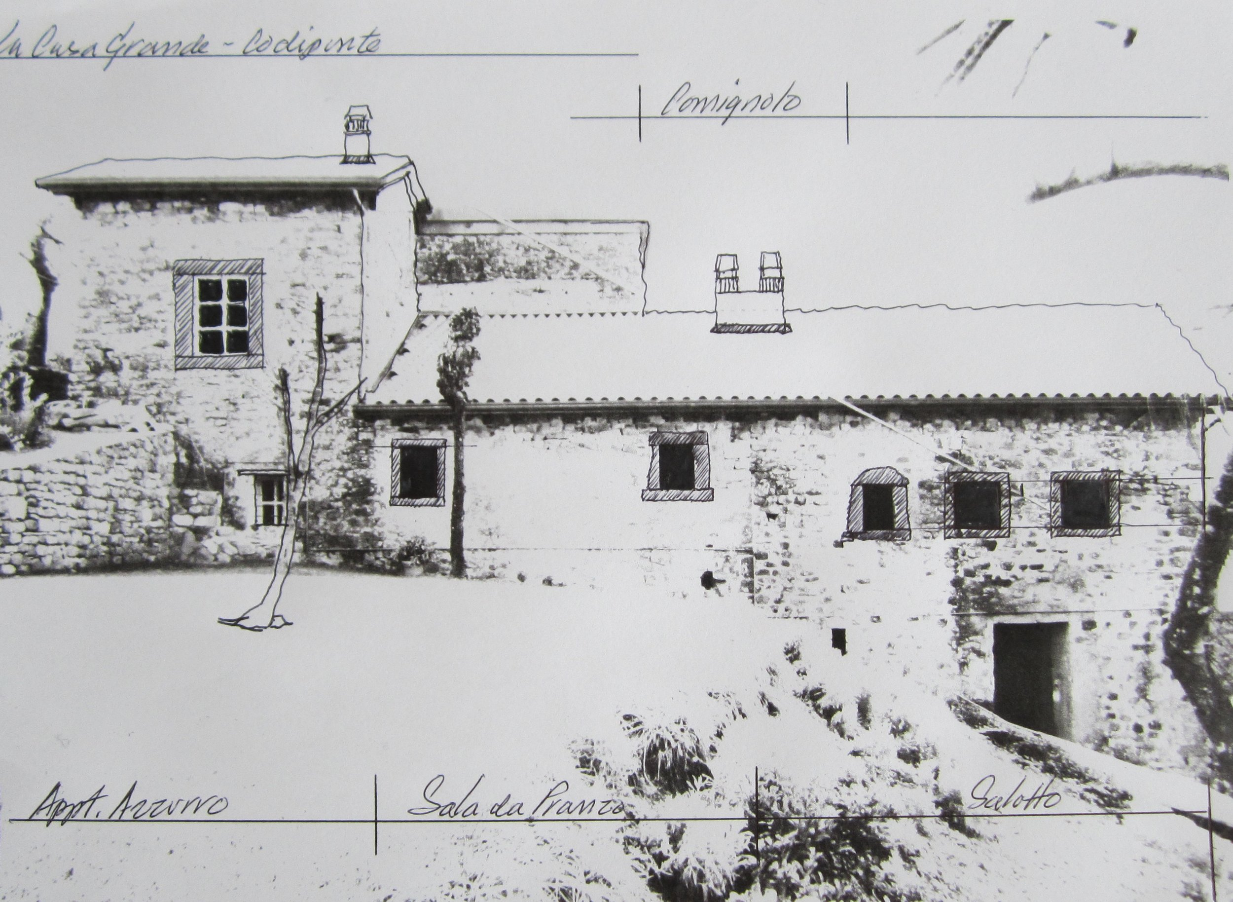 Drawing of the future facade of il Poggiolo and 2 of its 3 houses…