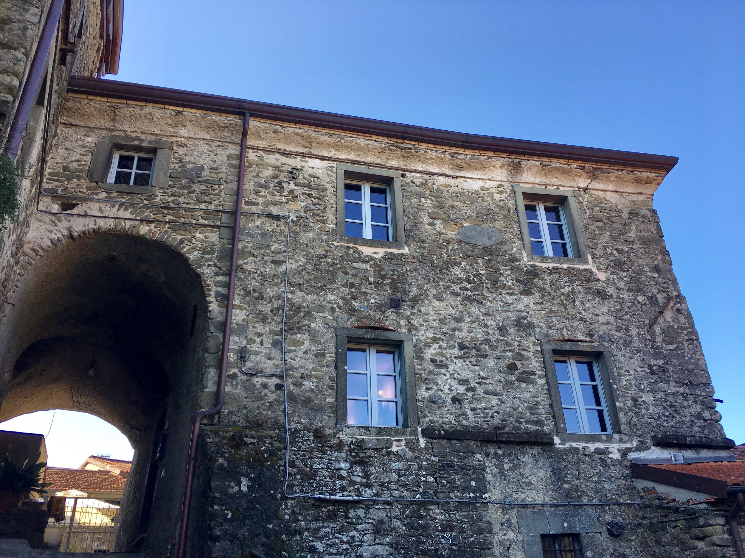 View from the ramp below La Casetta al Ponte built in the 1700's in the Medici-style of Tuscan architecture in the Lunigiana.