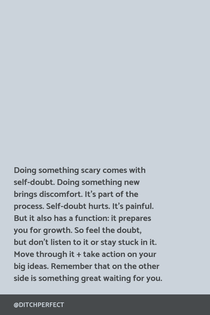 Important advice for online creative + any recovering perfectionist out there: doing something scary comes with self-doubt. Doing something new brings discomfort. It's part of the process. Move through it + take action (even if it's just the tiniest of steps) on your big ideas. Click through for more tips on ditching perfectionism + taking action in your creative business.