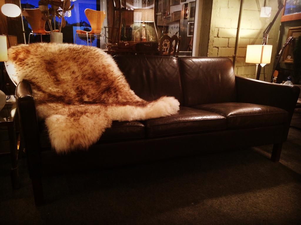 1960s Borge Morgensen leather sofa. Denmark.