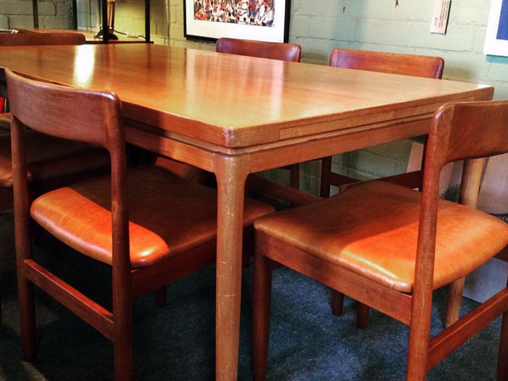 1960s Denmark Johannes Andersen table  1960s John Herbert for Younger Furniture restored dining chairs.