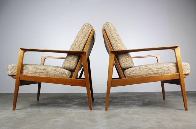 Wilhelm Knoll for Antimott – pair of walnut framed lounge chairs