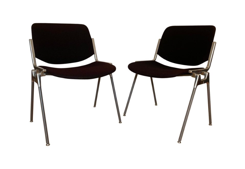 Giancarlo Peretti – Castelli chair in steel and chrome, upholstered seat and back – 16 available