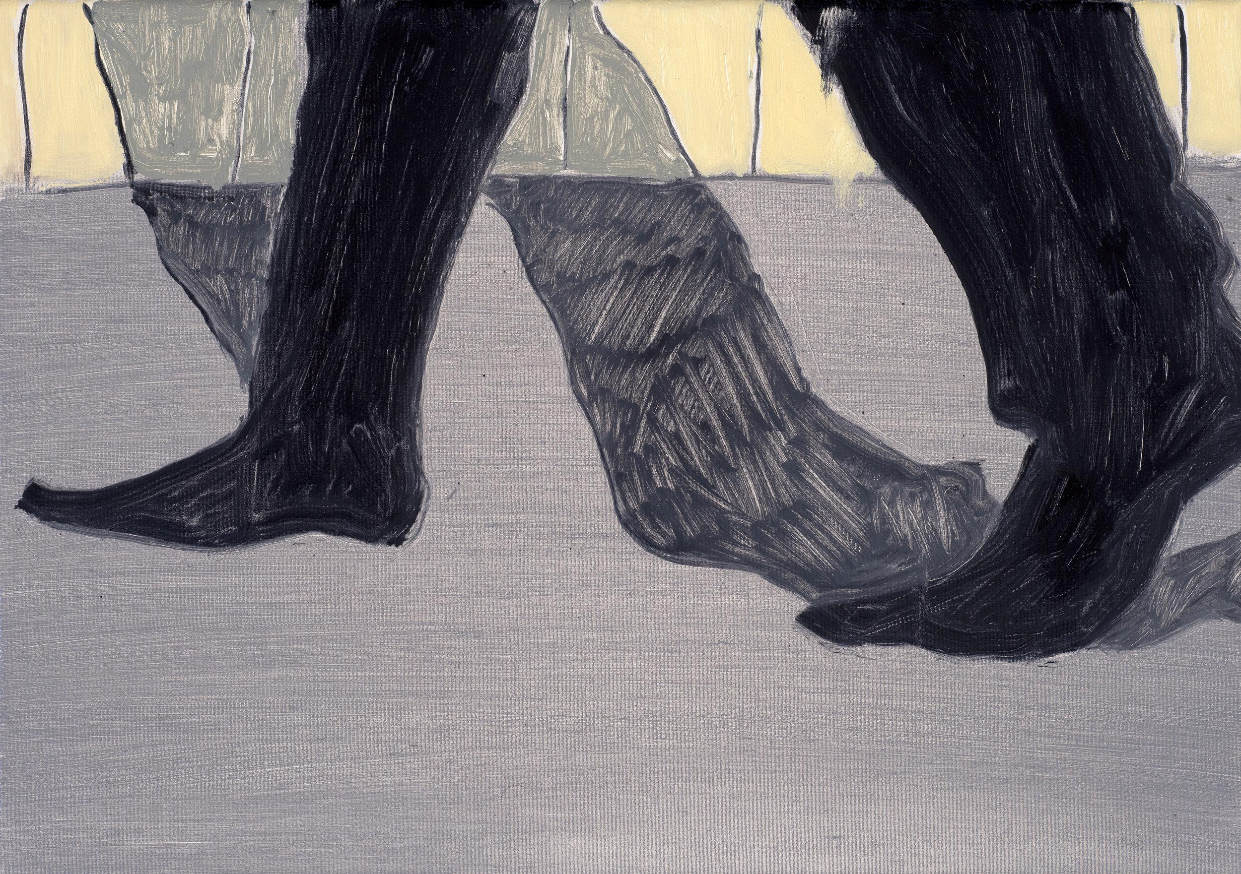 Walking at night, 35 x 25 cm, Oil on canvas, 2018.jpg