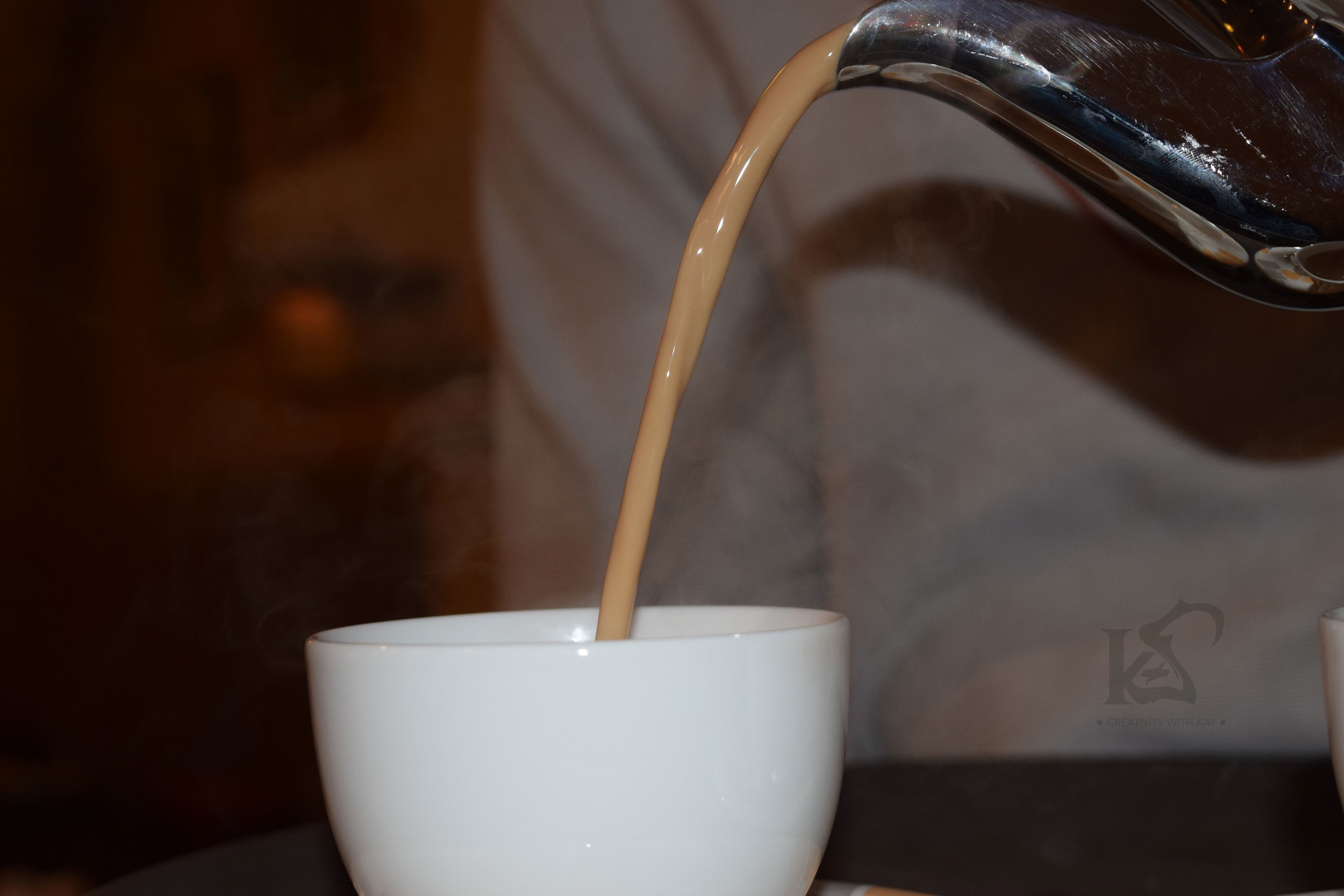 Steaming Hot delicious Karak being served for me!