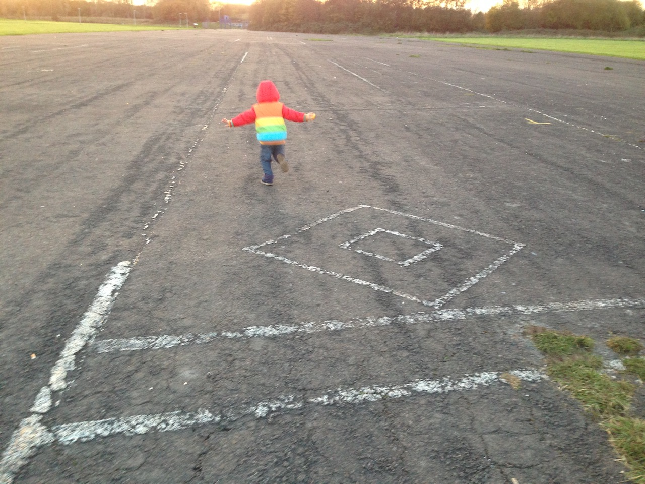 Playing on the former runway