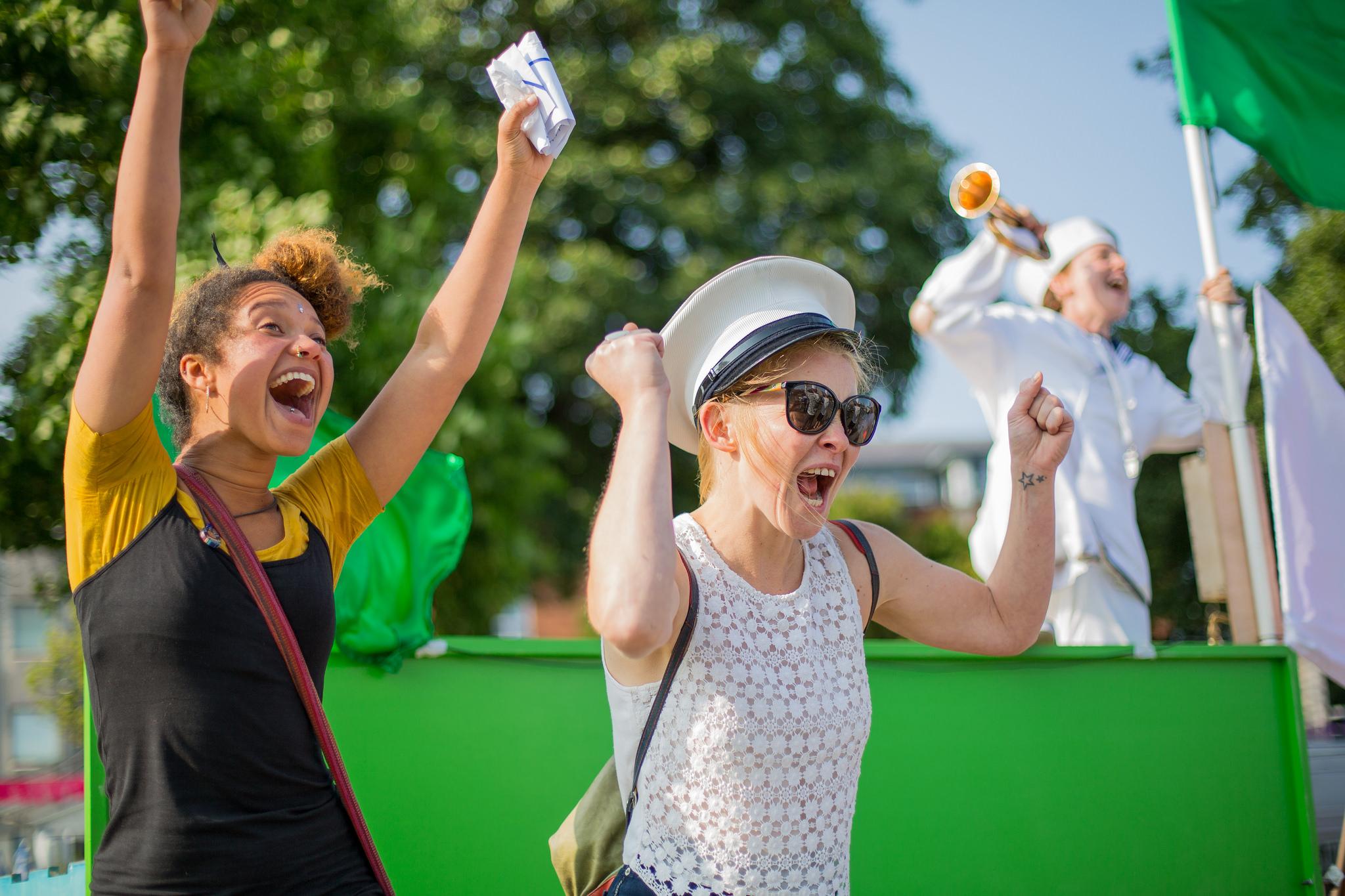 Two Woman Cheering Hurray