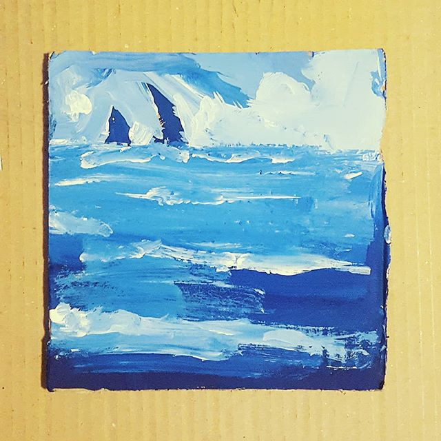 Octapus on cardboard 🐟 . . . . . . . #Scrapdog #illustration #colors #blue #gallery #acrylics #artistoninstagram #sea #blue #sky #artwork #artist #sketch #painting