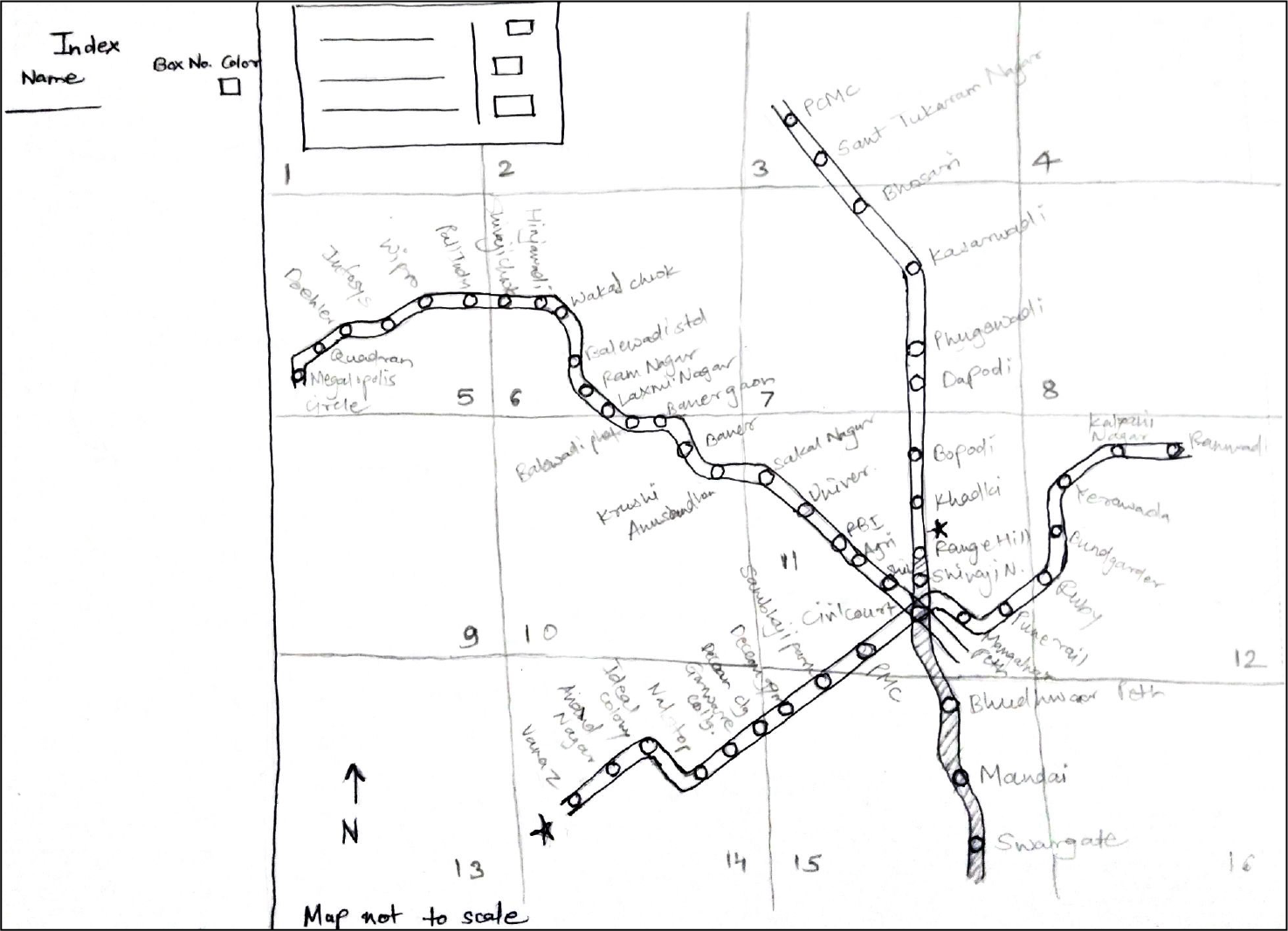 The first schematic diagram of Pune Metro Map after brainstorming.