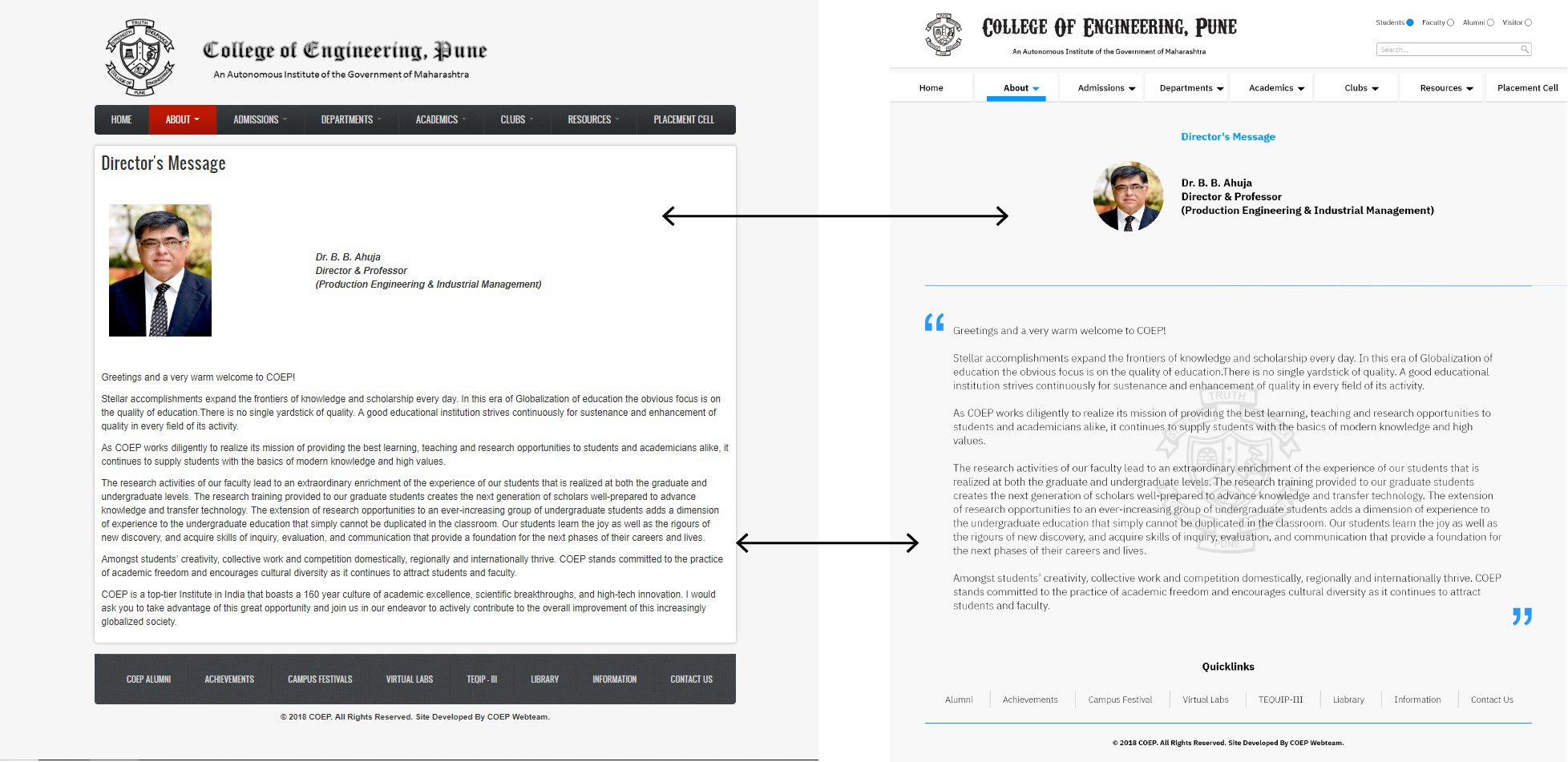 Left hand side: Original web-page  Right hand side: Redesigned web-page