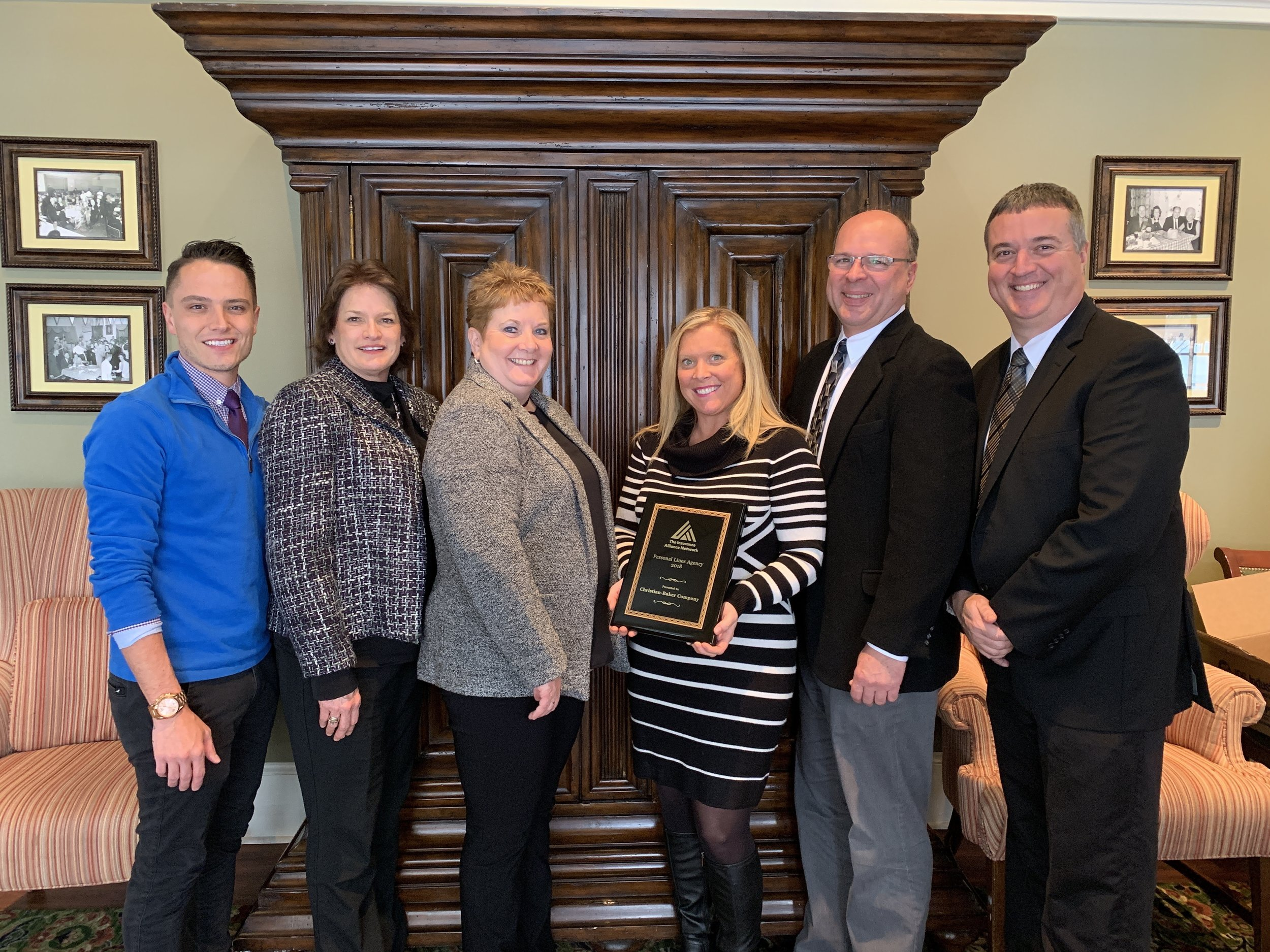 Christian Baker Company and PDM Insurance shared the designation of 2018 Personal Lines Agency of the Year. (Chaz Timmons, Pam Heisy, Rita McMullen (PDM Insurance), Susie Wharton, Jim Pace, Rob Fitzgerald (Christian-Baker Company)