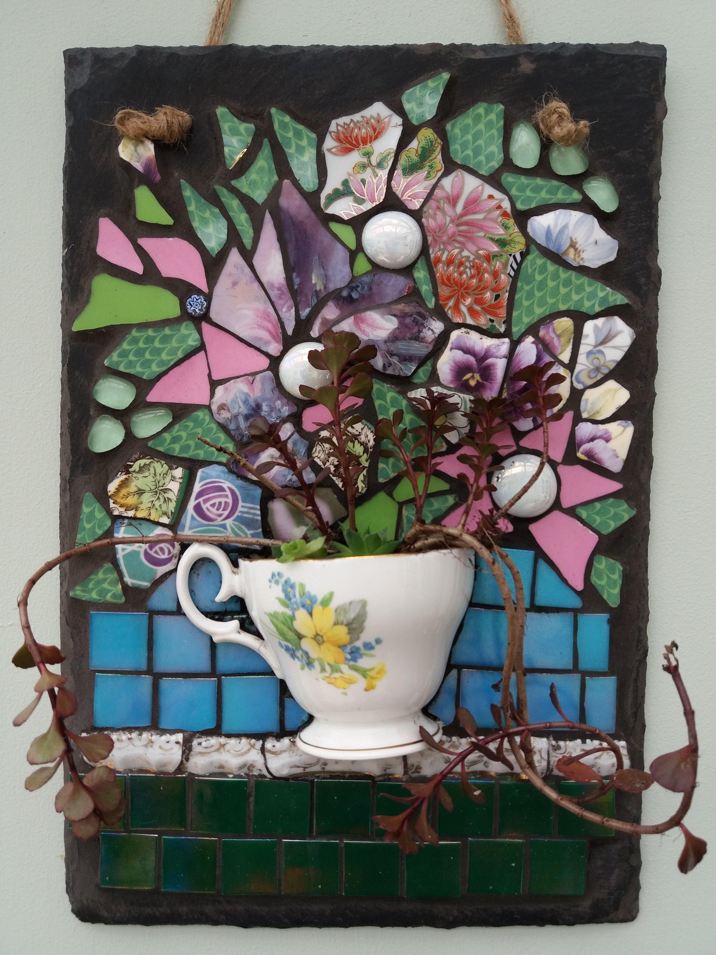 Vintage Cup & Mosaic Flowers on Slate