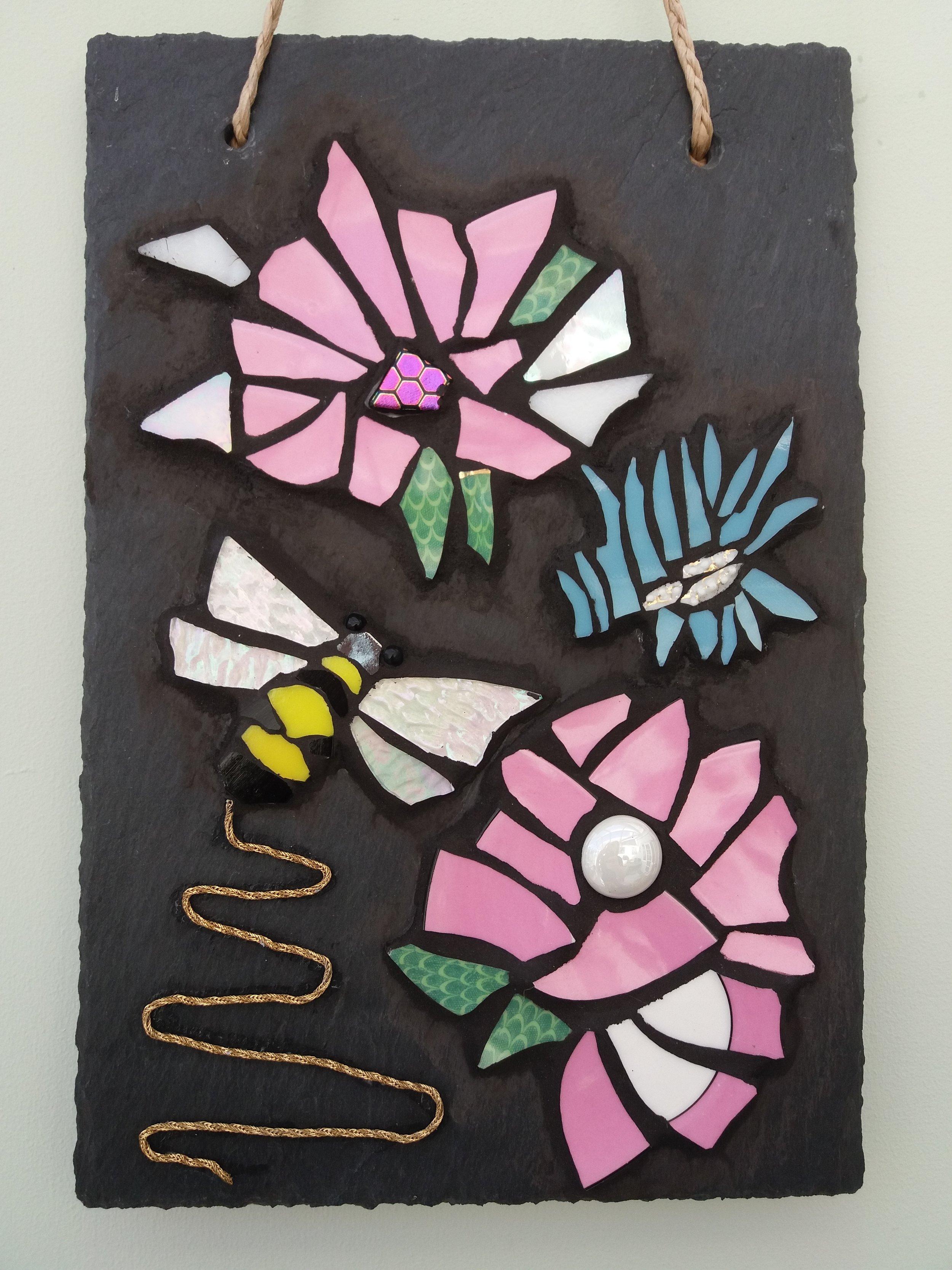 Mosaic Bee & Flowers on Slate