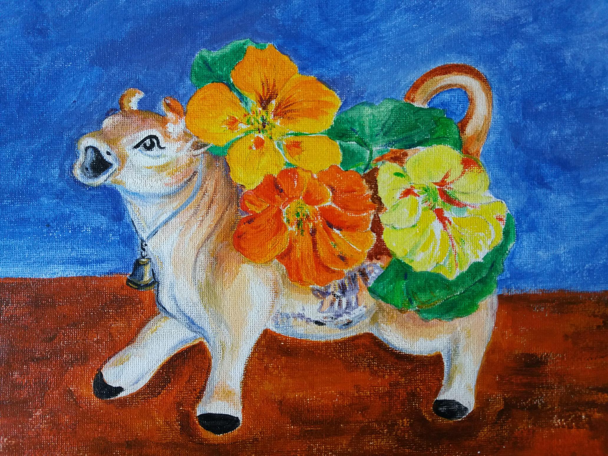 Jersey Cow with Nasturtiums