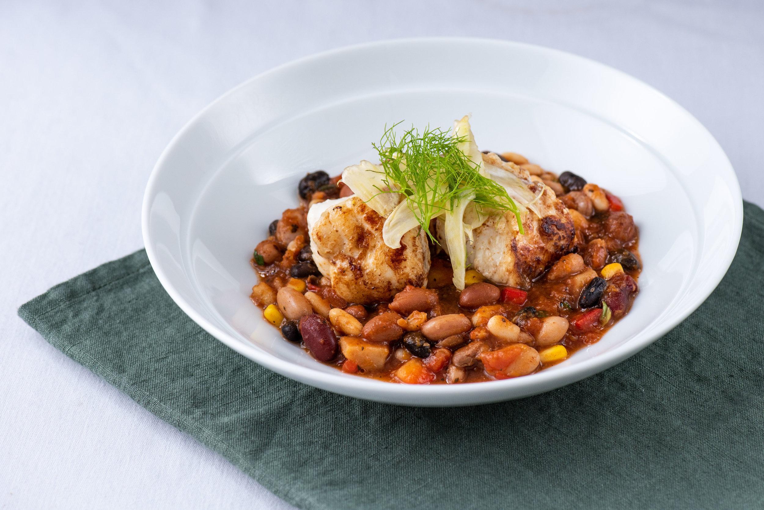 Monk fish, Bean Stew and Fennel Salad