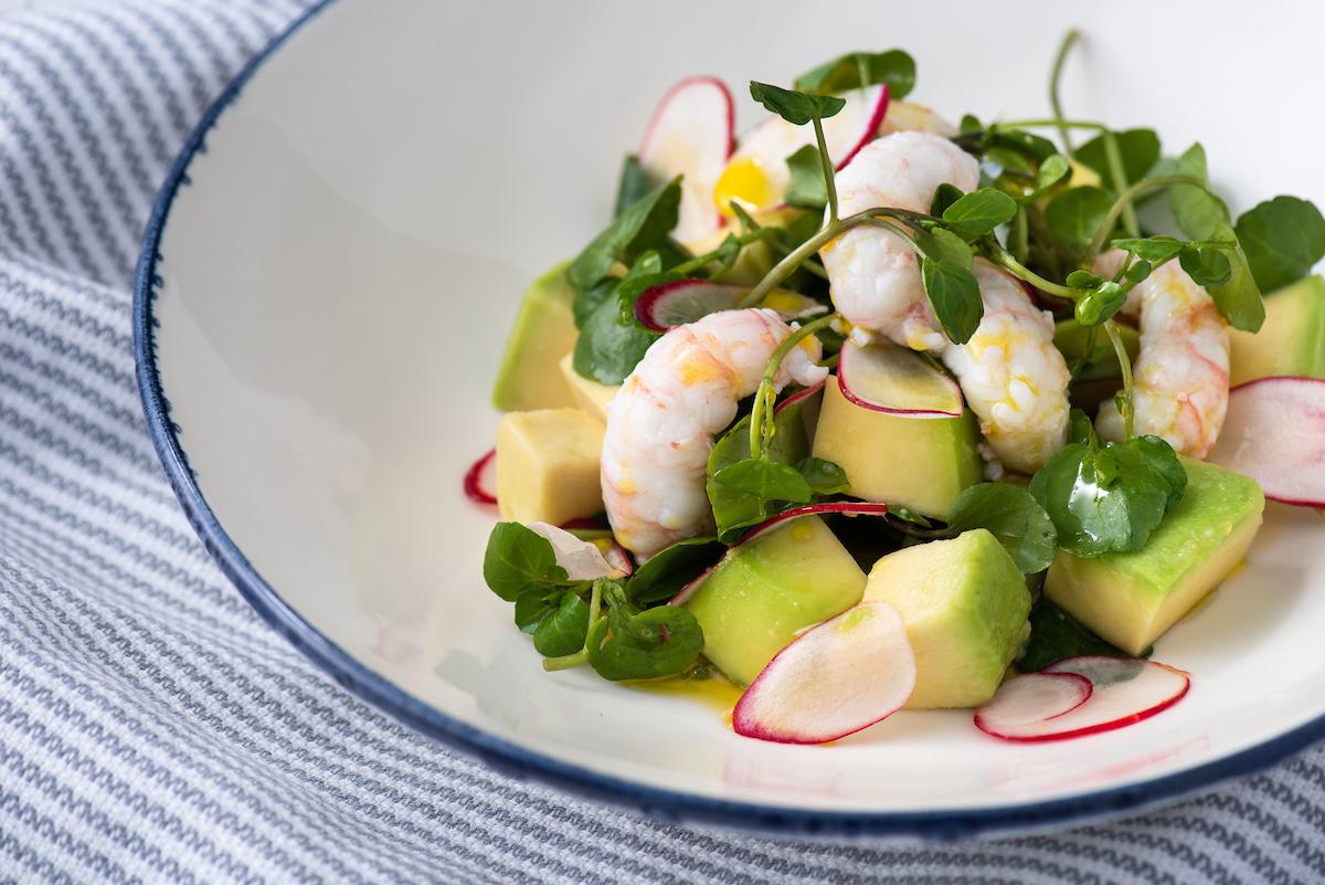 Prawn, avocado and watercress salad