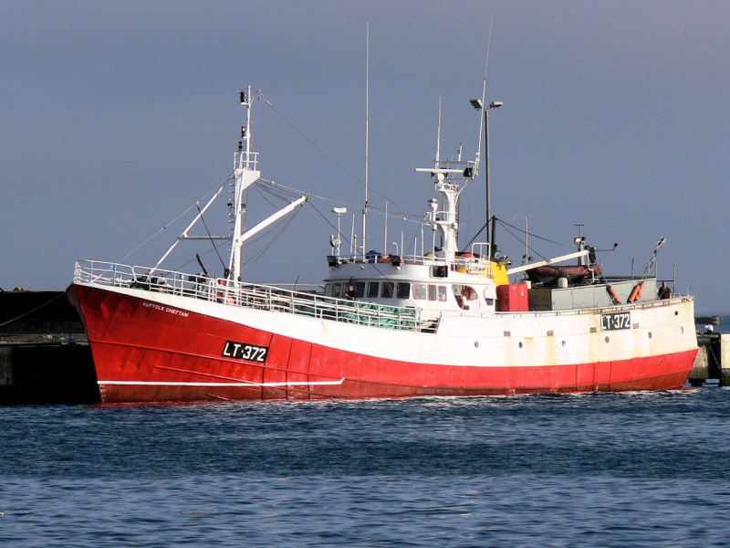 SUFFOLK CHIEFTAIN LT372   Type: Metal Hull Trawler  Size: 38.25m  Built: 1968; Appledore, N. Devon