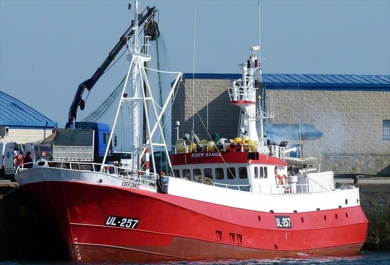 EDER SANDS UL257   Type: Metal Hull Trawler  Size: 38.2m  Built: 1974; Zumaya, Spain
