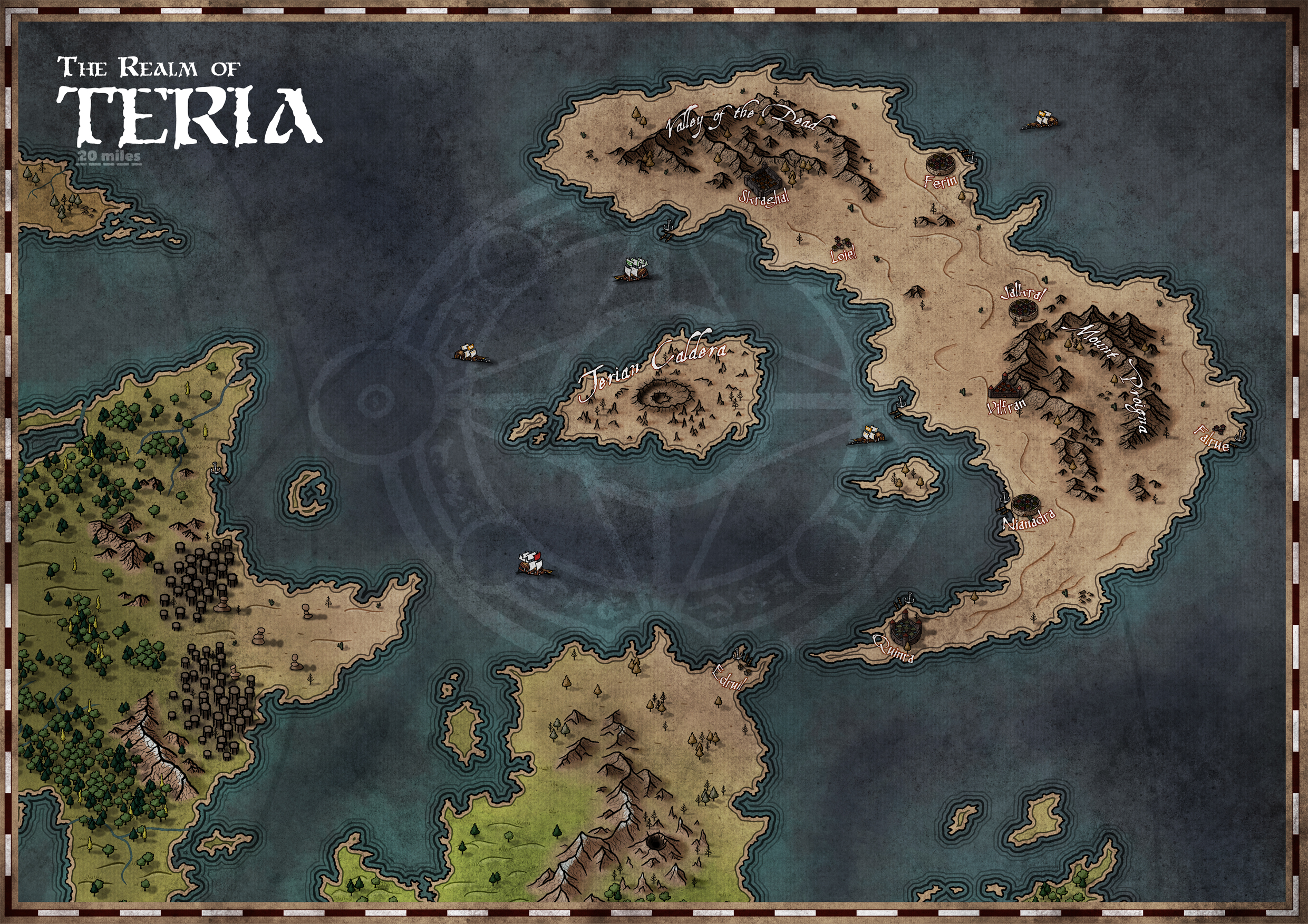 Development imagery, subject to change. The Realm of Teria, a Kingdom/Realm Map.