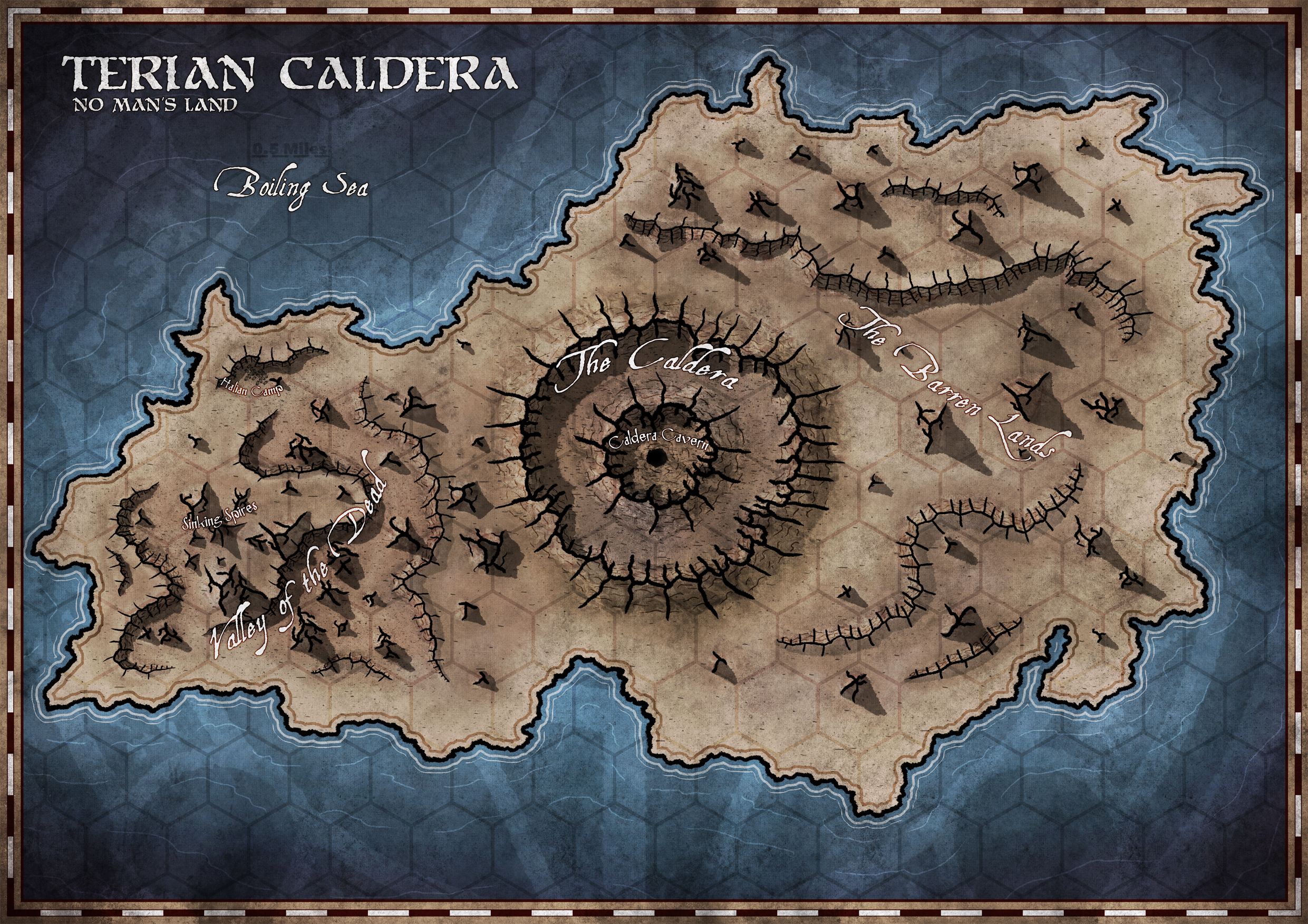 Development imagery, subject to change. The Terian Caldera, a Province Map.