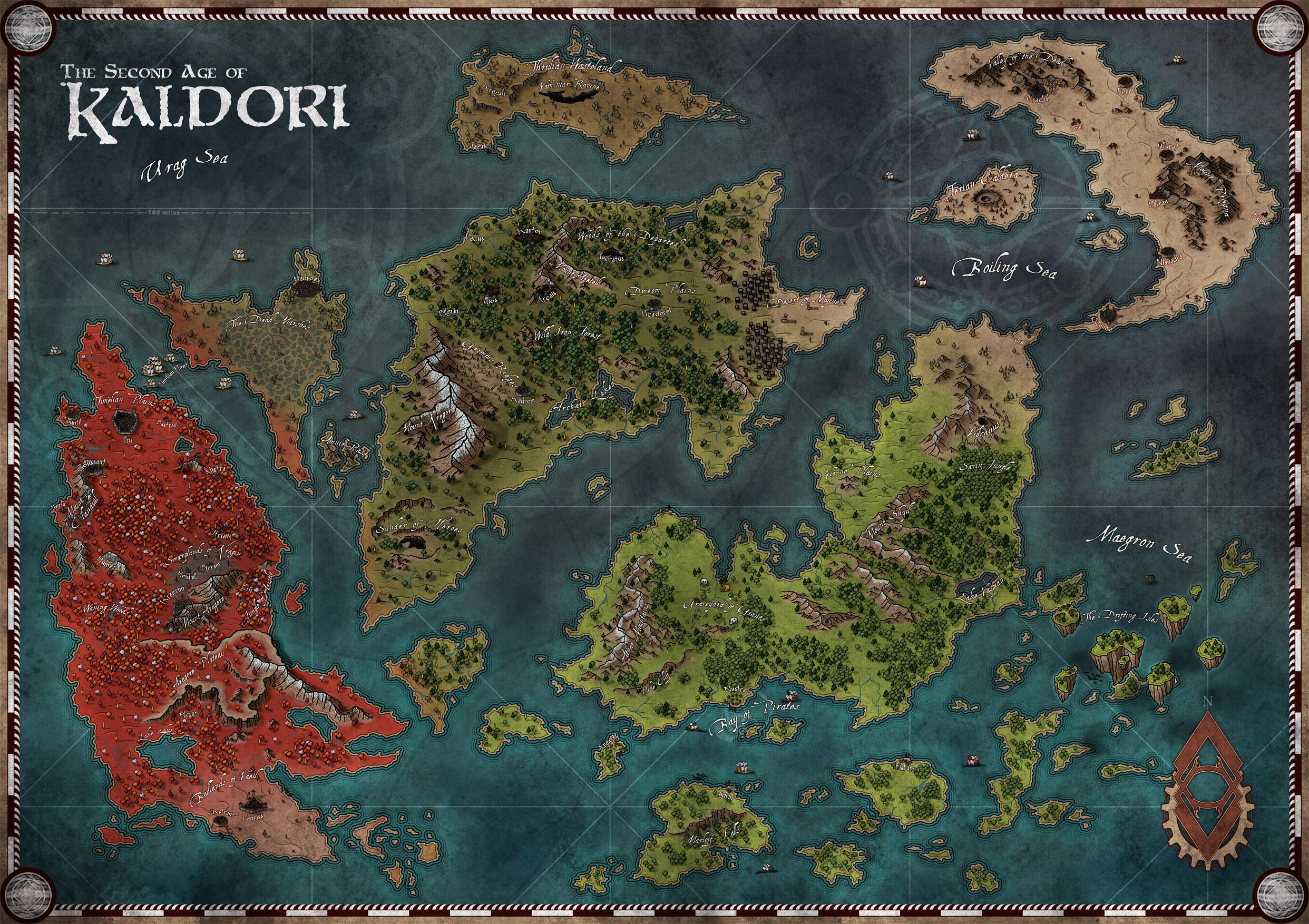 Development imagery, subject to change. The world of Kaldori, a World/Continent Map.