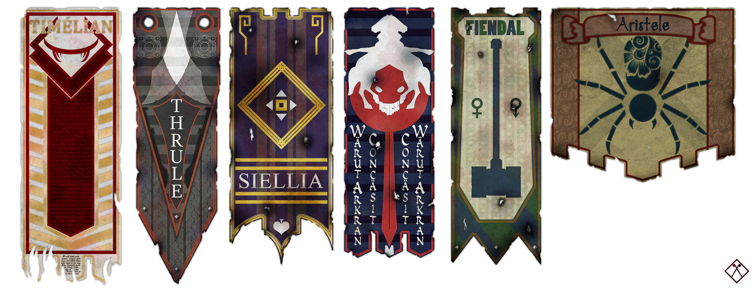 From left to right: Timélian Empire, Thrulian Empire, Province of Siellia, Kingdom of Fiendal, Dens of Aristele.