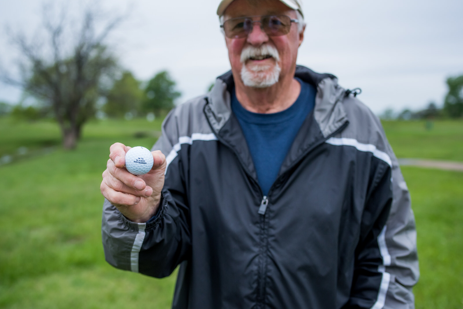 Don using one of his new personalized golf balls!
