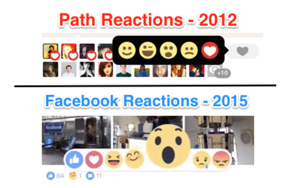 Facebook ultimately defeated Path, but it stole a number of features from its smaller rival