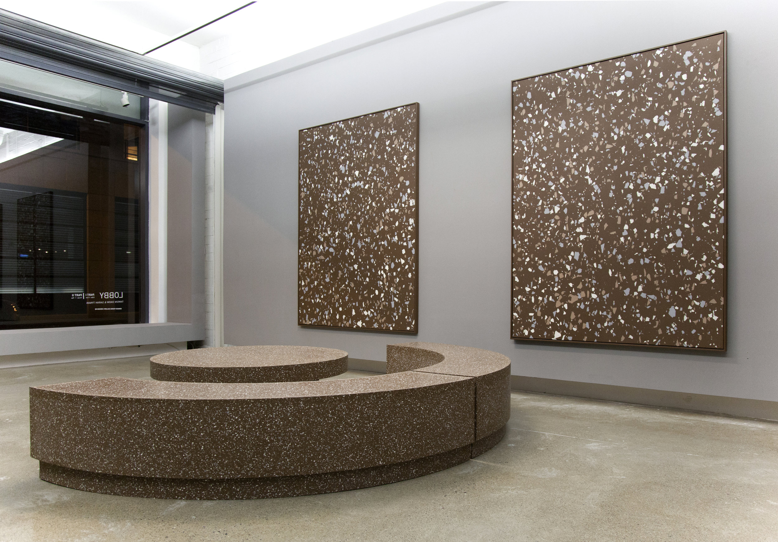 Lobby Part II , 2015 Terrazzo rubber, wood, acrylic on canvas Dimensions variable