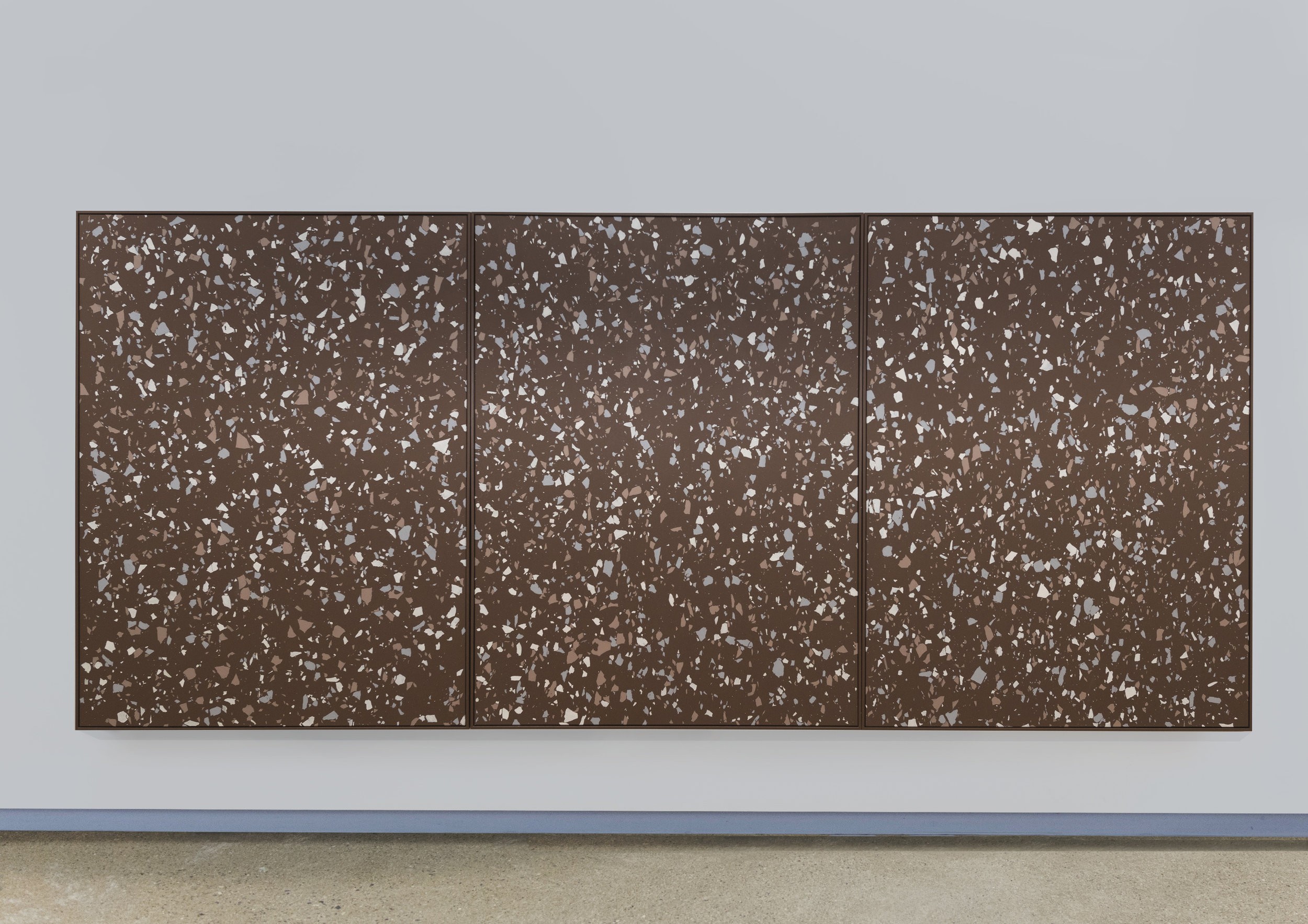 Lobby Part II , 2015 Terrazzo rubber, acrylic on canvas 200 x 450 cm
