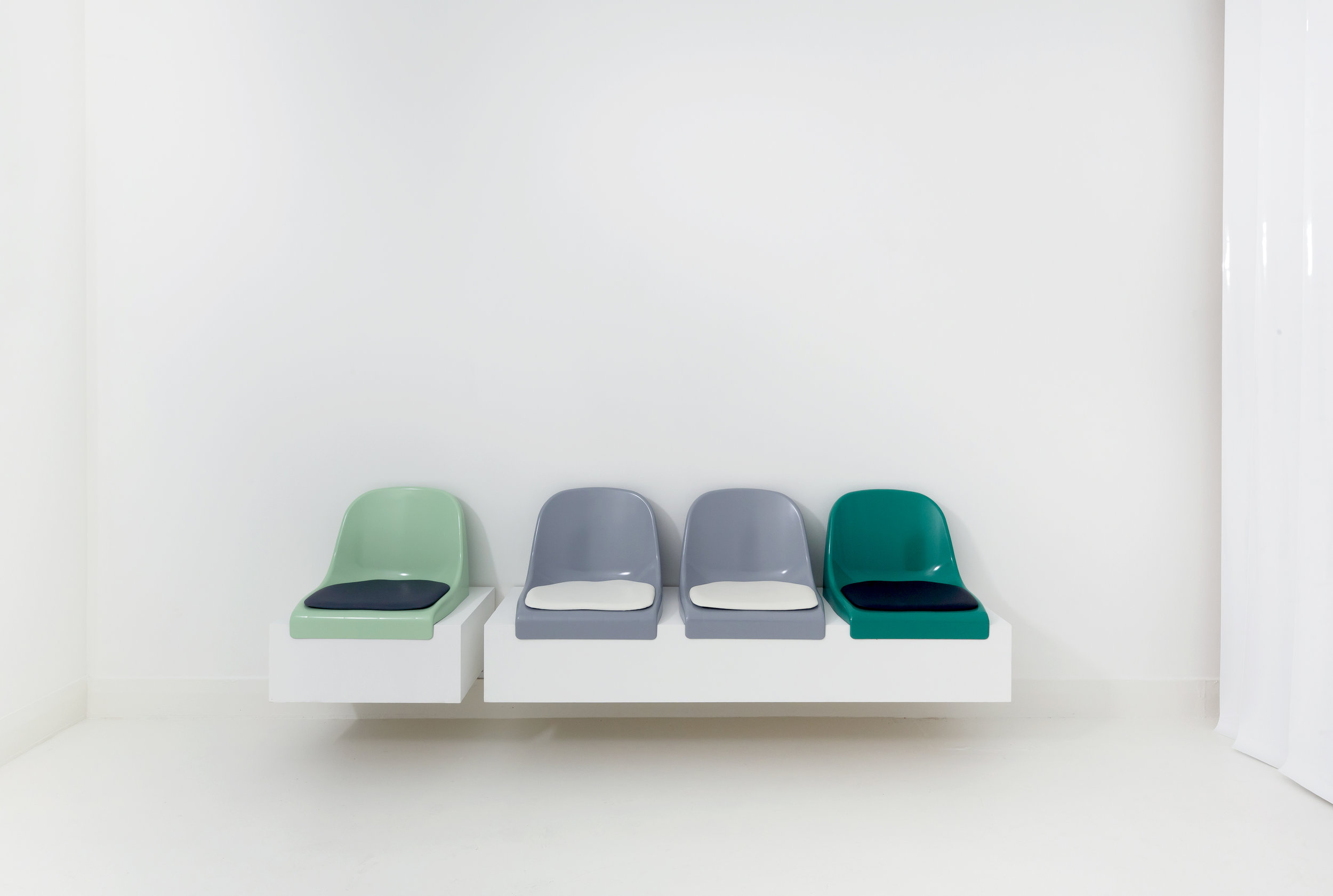 MULTIFAITH  (Service Station), 2018 Polyurethane chairs, leatherette, neon light, perspex, c-type print Dimensions variable