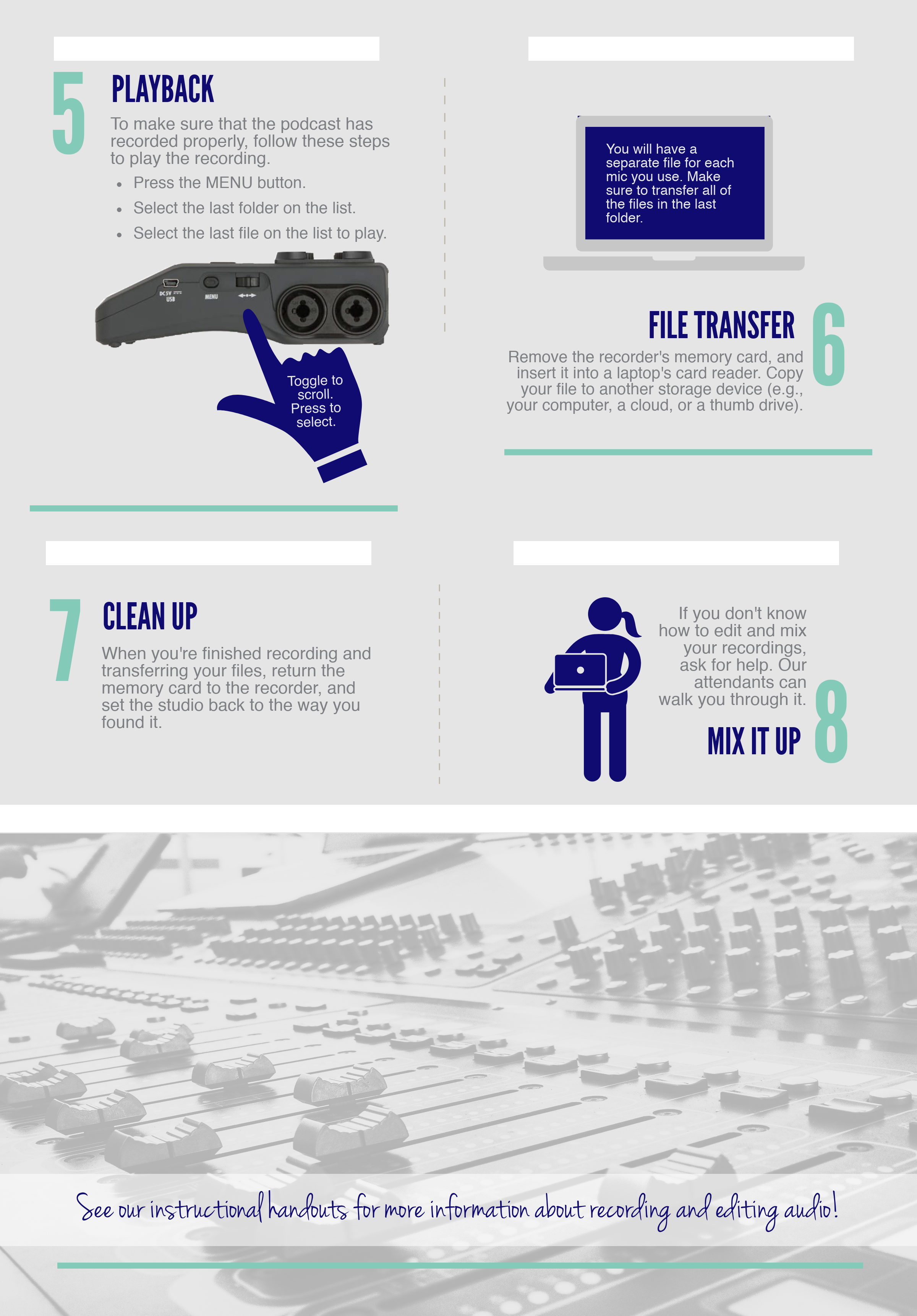 Part 2 of our guide to recording in the sound booth in DPH 216.
