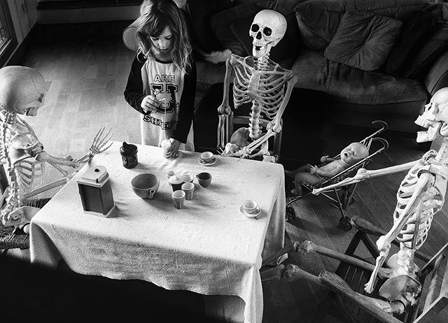 Ruby, serving morning tea to her guests 💀