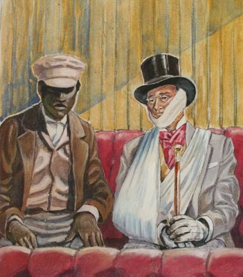 William (left) and Ellen disguised as an invalid, white male, slave owner (right) as imagined by artist Judith Hunt