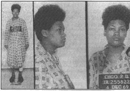 Police Photo of an 8 month pregnant Deborah Johnson shortly after Fred Hampton was murdered and their apartment raided.