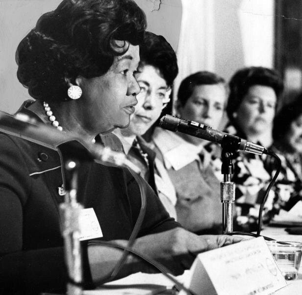 Dorothy Height Speaking to a group of Female activist via. wiki commons