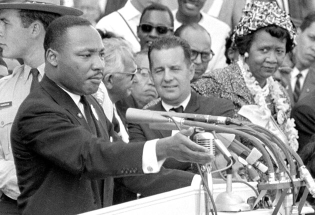 """Dorothy Height on stage as MLK jr. gives his """"I Have a Dream Speech"""" at the March On Washington"""