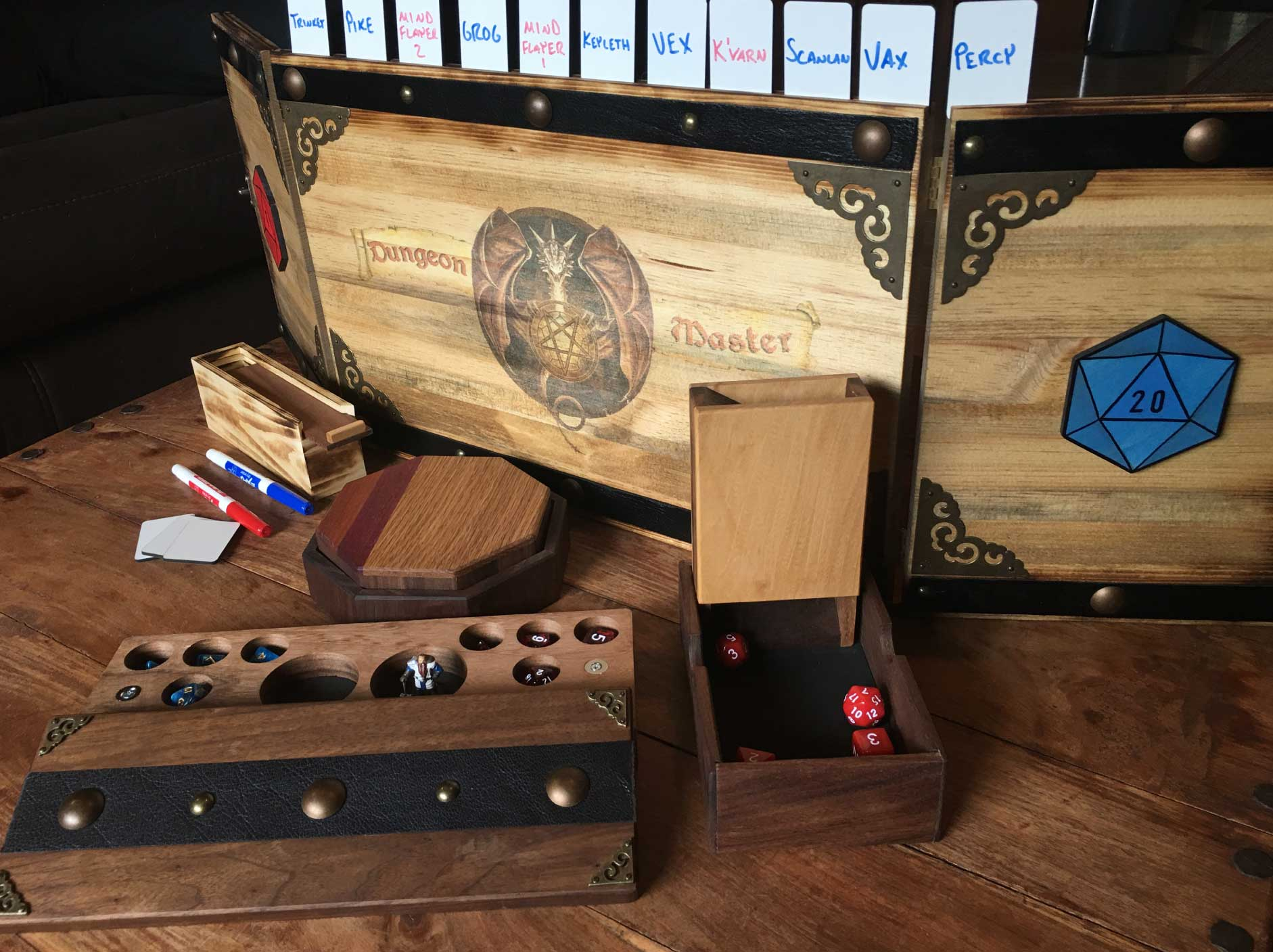 Handmade Tabletop Gaming Accessories - Fine hardwood dice towers and trays, dice boxes, initiative trackers, and Dungeon Master Screens