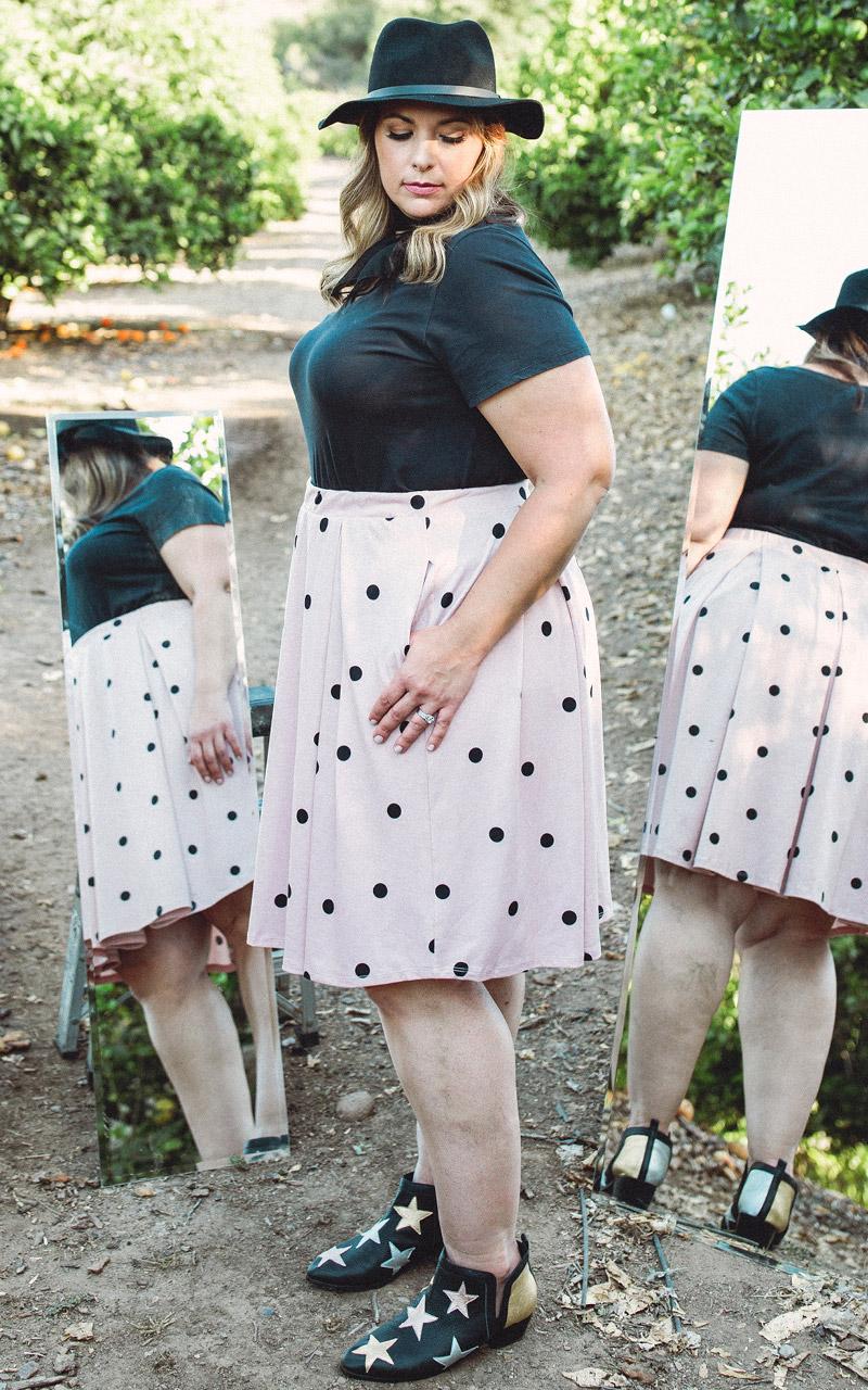 LuLaRoe-Madison-Mid-Length-Skater-Skirt-With-Pockets-blush-pink-and-black-polka-dots.jpg