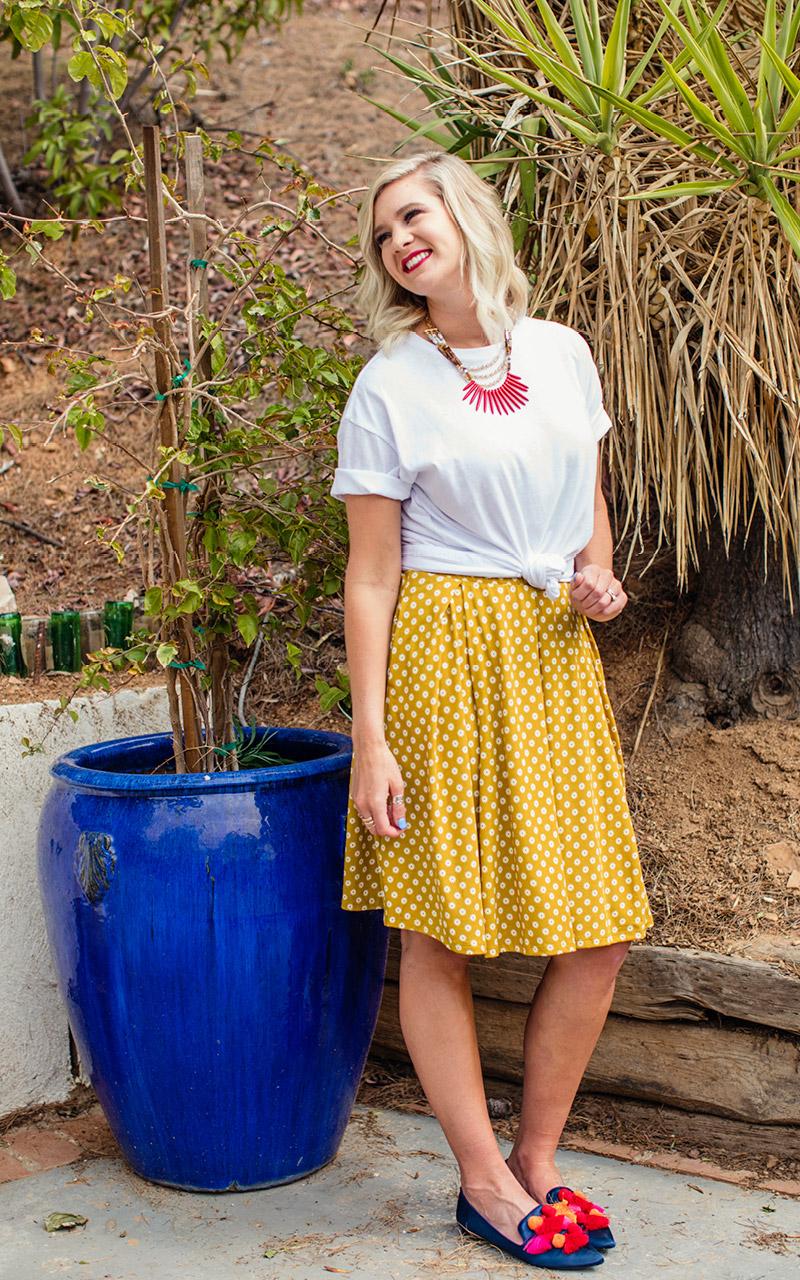 LuLaRoe-Madison-Mid-Length-Skater-Skirt-With-Pockets-yellow-mustard-polka-dots-2.jpg