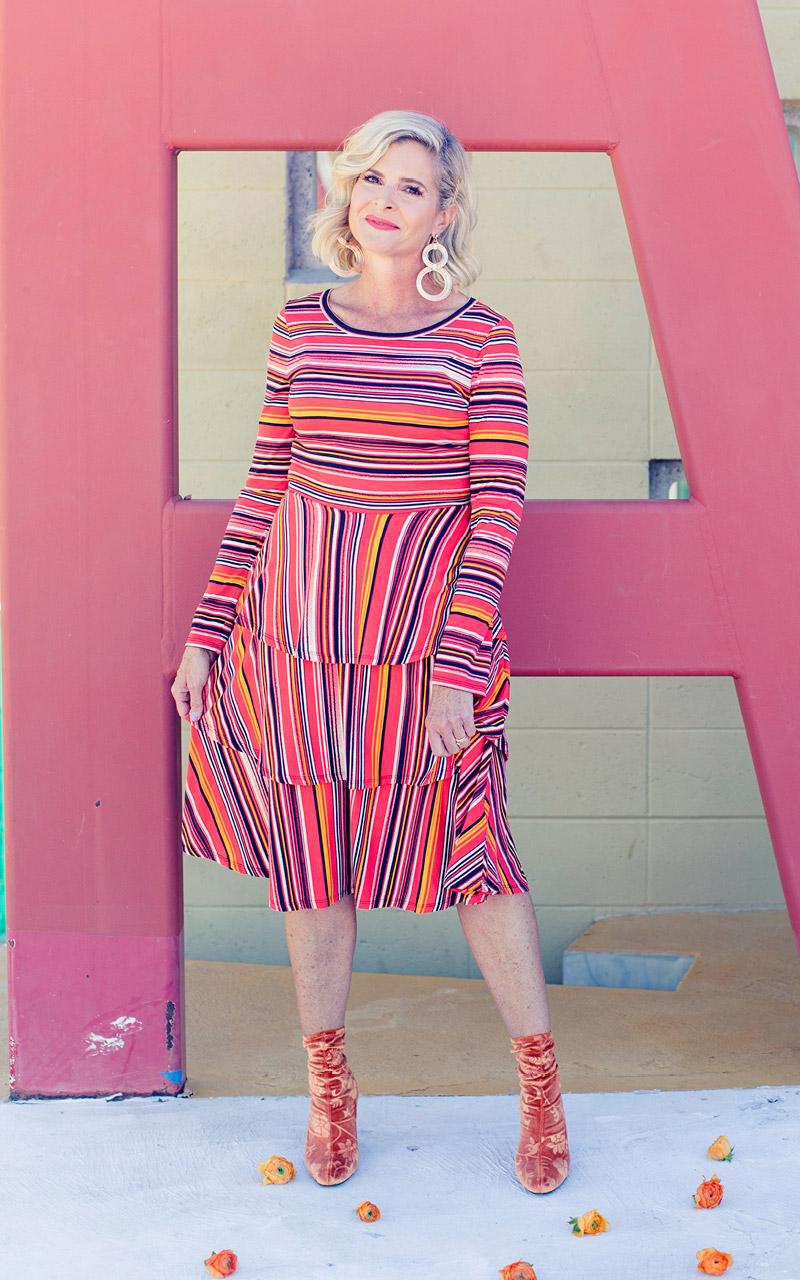 Lularoe-Georgia-Long-Sleeve-Layered-Ruffle-Tier-mid-length-dress-colorful-stripes-red-and-orange.jpg