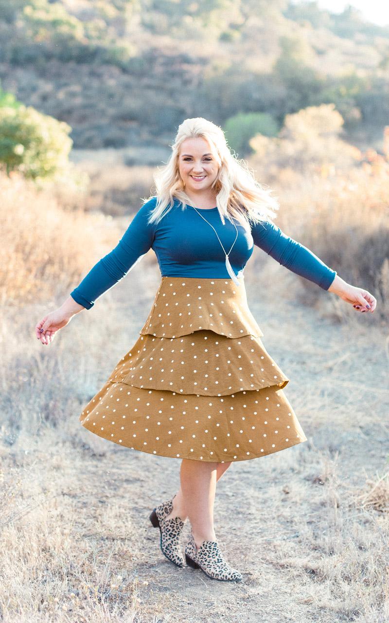 Lularoe-Georgia-Long-Sleeve-Layered-Ruffle-Tier-mid-length-dress-two-colors-blue-and-brown-polka-dot.jpg
