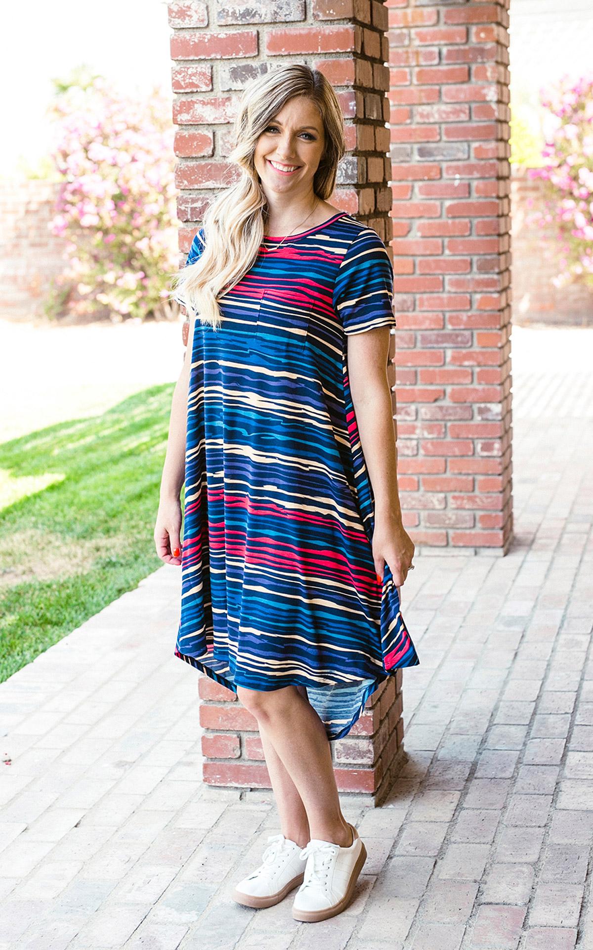 LuLaRoe-Carly-T-Shirt-High-Low-Dress-blue-red-yellow-stripes.jpg