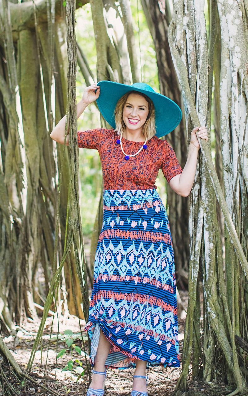 LuLaRoe-Maxi-Skirt-with-yoga-band-tribal-blue-and-orange-pattern.jpg